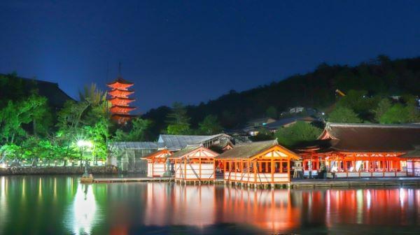 Night Time Light Up Itsukushima Shrine Miyajima Japan