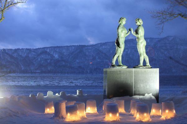 Statue-Of-Maidens-Lake-Towada-Aomori-Japan-Winter