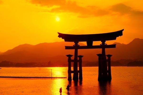 Sunset From Itsukushima Shrine Miyajima Japan