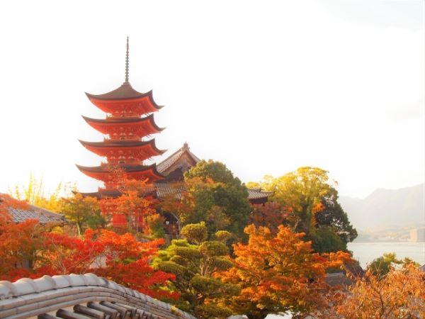 Toyokuni SShrine Five-Story Pagoda Miyajima Japan